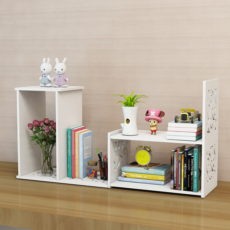 Bookshelf simple table shelf children's desktop storage rack simple modern telescopic student rotating small bookshelf