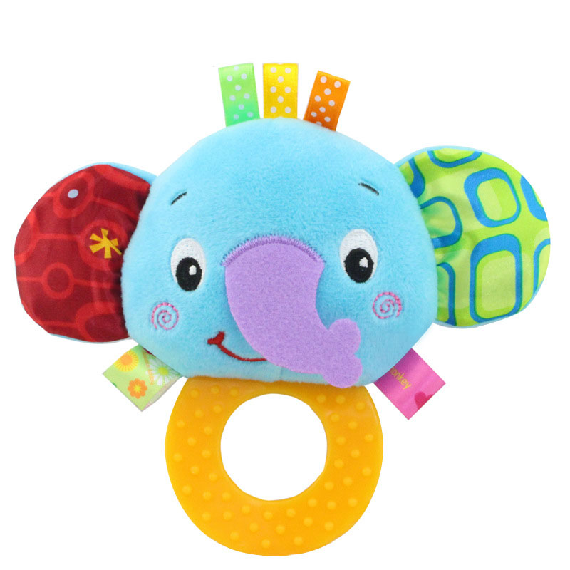 High Quality Baby Plush Toys Cartoon Animals Hand Bell With Teether Early Education Toys For Infant