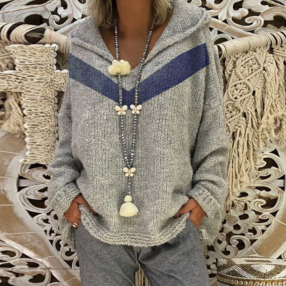 OEAK  Casual Women Autumn Hooded Knitwear Solid Long Sleeves Drop Shoulder Loose Knitted Sweater Female Fashion Pullover Top