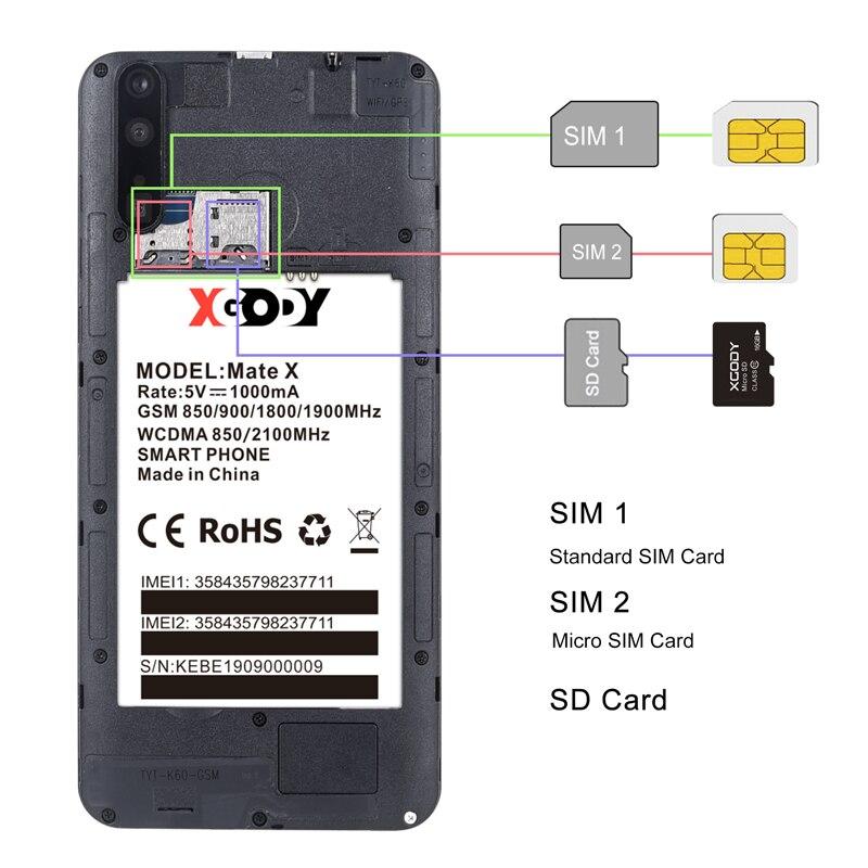 "XGODY Mate X 6"" 18:9 Smartphone Dual SIM Android 9.0 Cell Phones 2GB 16GB MTK6580 Quad Core 2800mAh 5MP GPS WiFi 3G Mobile Phone"