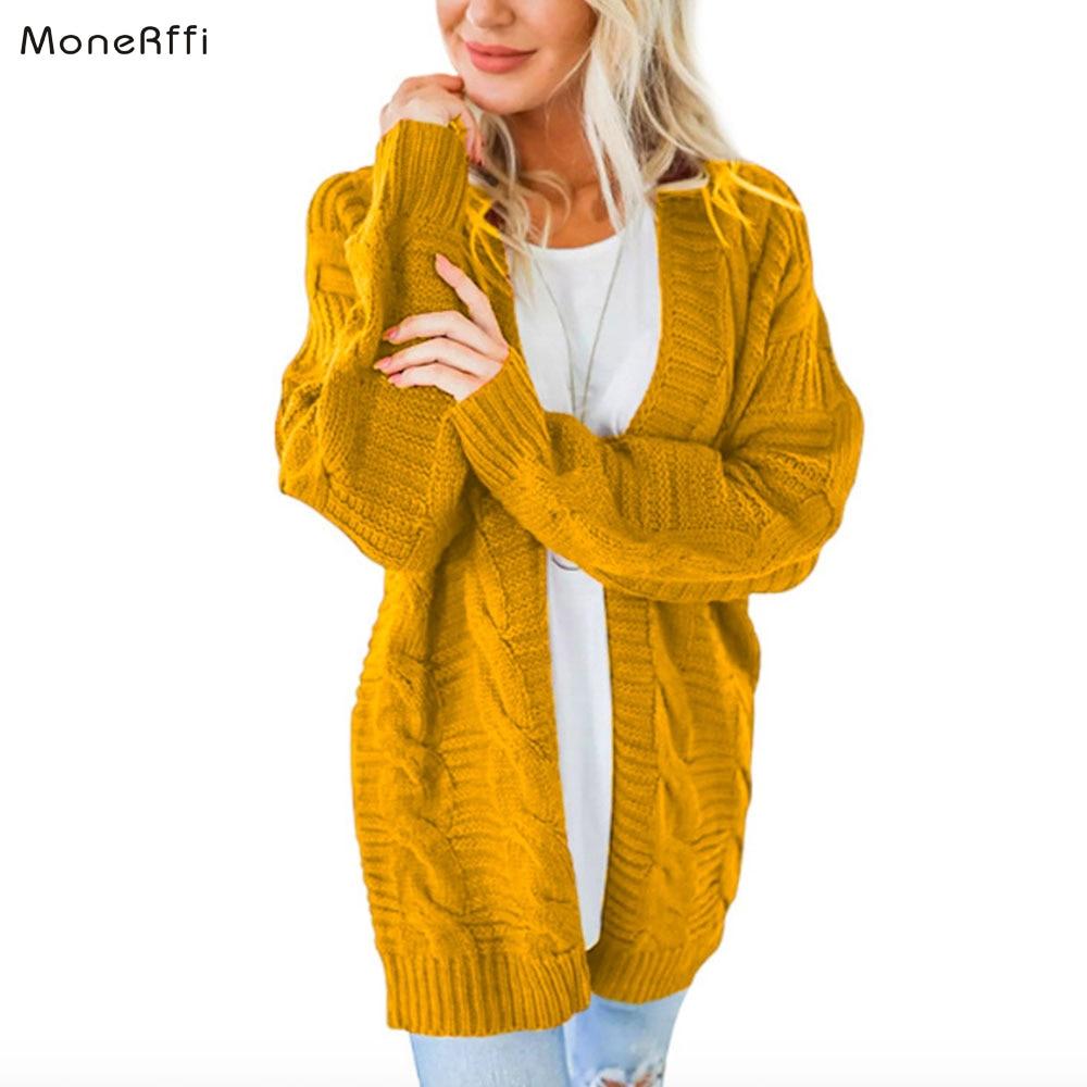 MoneRiff Autumn Winter Batwing Sleeve Knitwear Cardigan Women Large Size Knitted Sweater Cardigan Female Fashion Jumper Coat