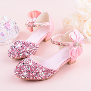 Image 2 - 2019 Girls Bow knot Princess Shoes With High heeled, Kids Glitter Dance Performance Summer Shoes, Purple , Pink & Silver 26 38