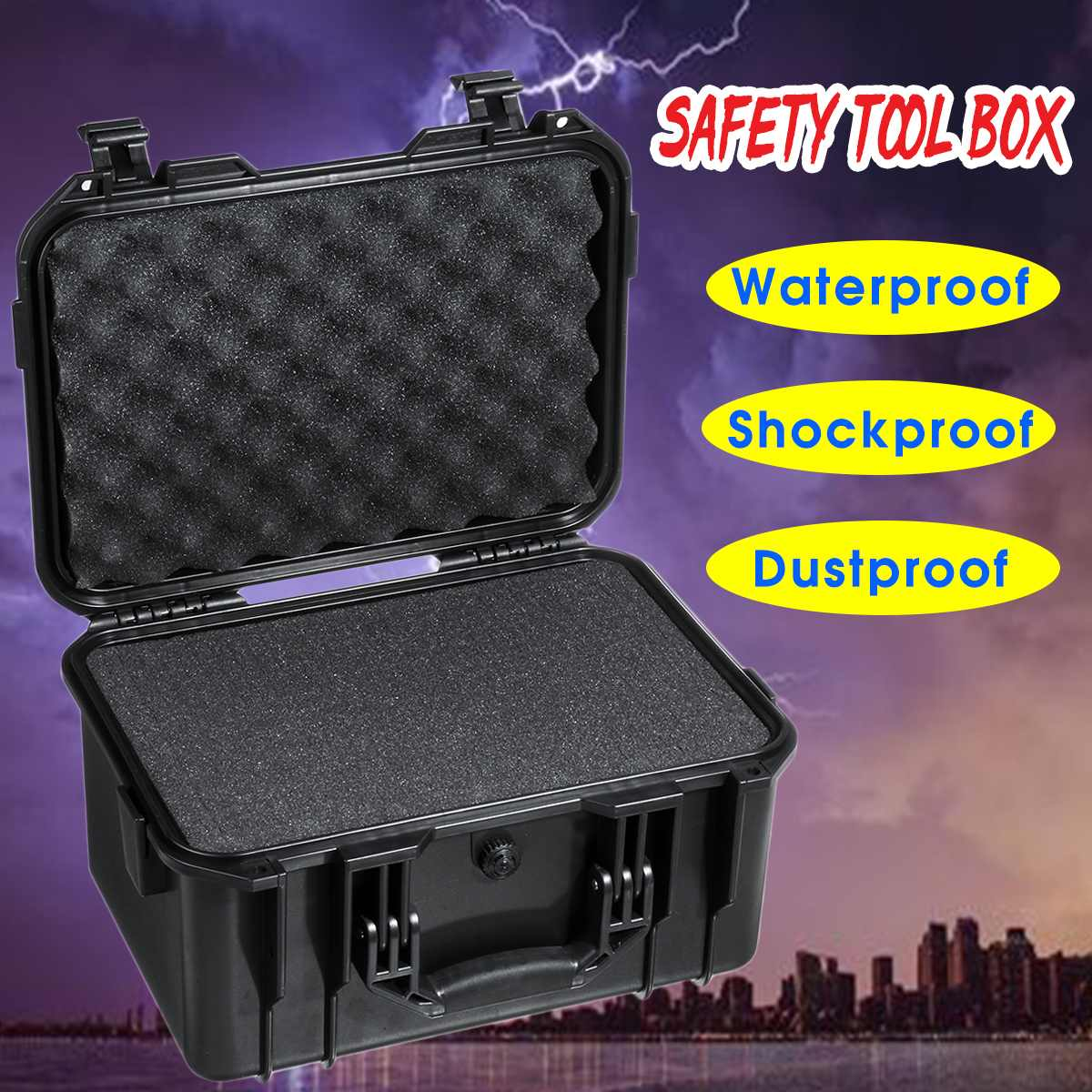 Waterproof Safety Tool Case Impact Resistant Sealed Equipment Instrument Tool Box Storage Toolbox Suitcase Tool Container w/foam