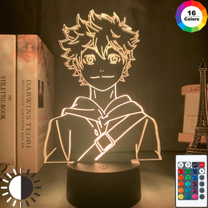 Acrylic Led Night Light Anime Haikyuu Shoyo Hinata Figure for Kids Bedroom Decor Nightlight Cool Manga Gadget Child Table Lamp