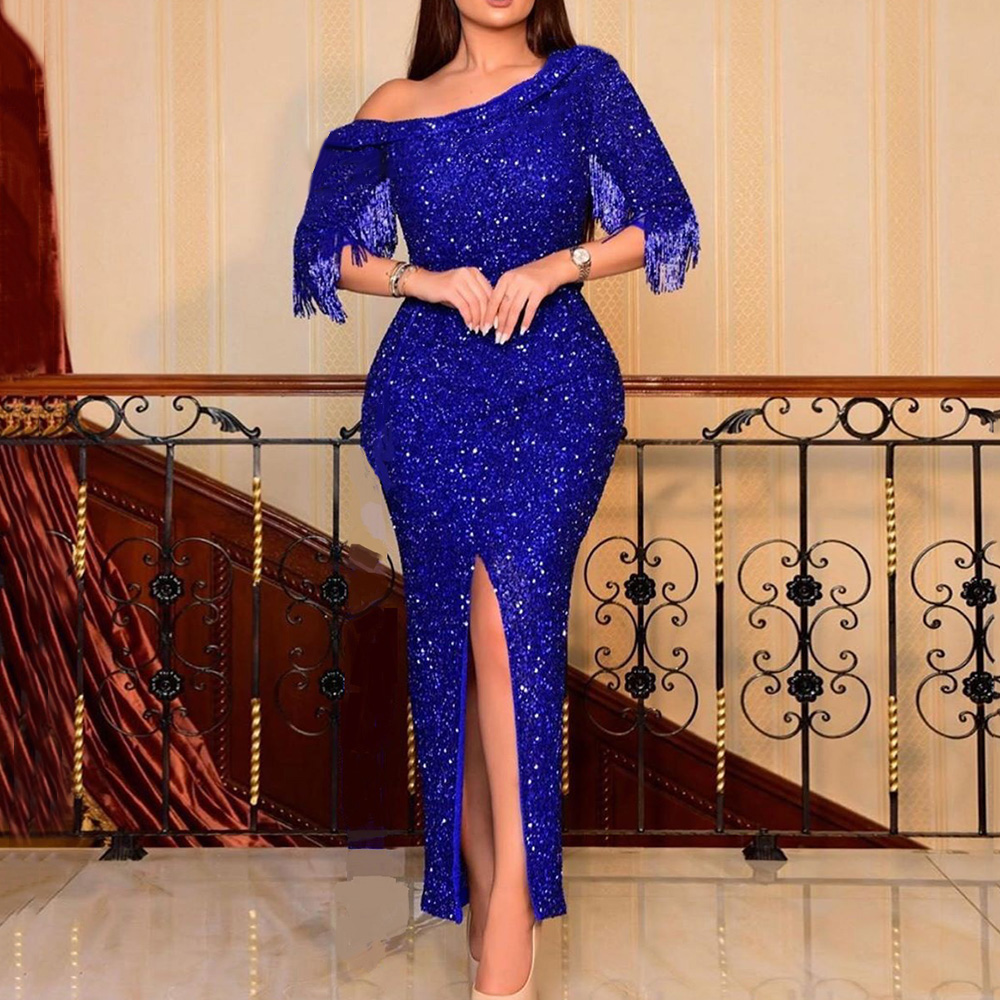 Royal Blue Glitter Tassel Sleeve Long Dresses Elegant Sequins Split Bodycon Prom Dress Sexy African Wedding Party Formal Robe