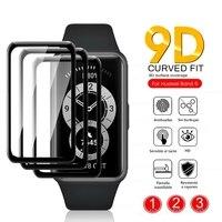 1-3Pcs vetro protettivo curvo 9d per huawei band 6 glas pellicola proteggi schermo su huawei huawei band6 accessori braccialetto intelligente