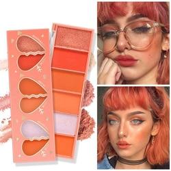 Серия оранжевых теней для век, 6 цветов, румяна, матовые Перламутровые тени для век, пигментные тени для век, палитра, Косметика для макияжа, Р...