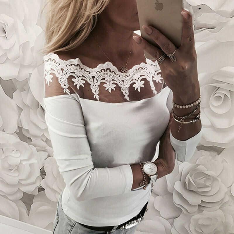 2019 ファッション女性セクシーなレースのルースプルオーバースラッシュネック長袖花白ブラウスカジュアルトップスシャツ
