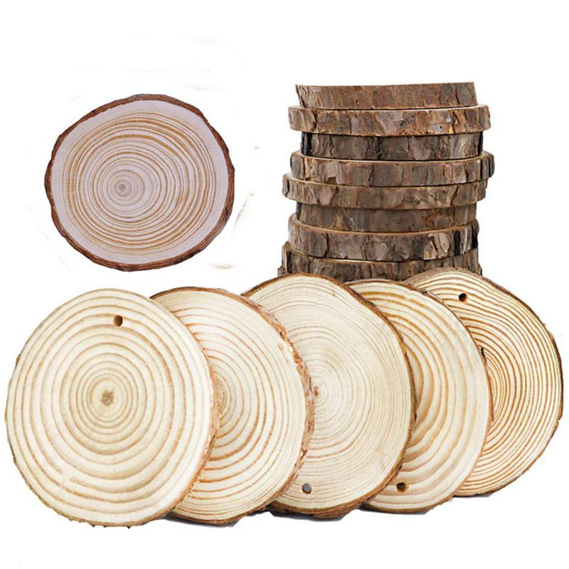 5pcs Unfinished Natural Round Wood Slices Circles With Hole&Rope Tree Bark Log Discs For DIY Crafts Wedding Party Painting Decor