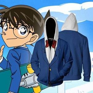 Image 3 - Sweat shirt à capuche avec fermeture éclair pour hommes, vêtements de détective Anime Conan, capuche Cosplay