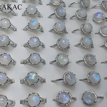 2 リング/セットakacナチュラルa + 虹ムーンストーンtansparent光沢のあるブルー調節可能な白銅女性リング