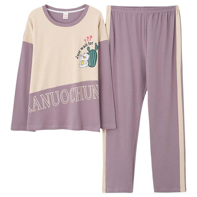 Womens Pajamas Sets Long Sleeve 100% Cotton Pajamas Suit Women Autumn Cactus Print Casual Sleepwear 5XL Pyjamas For Female
