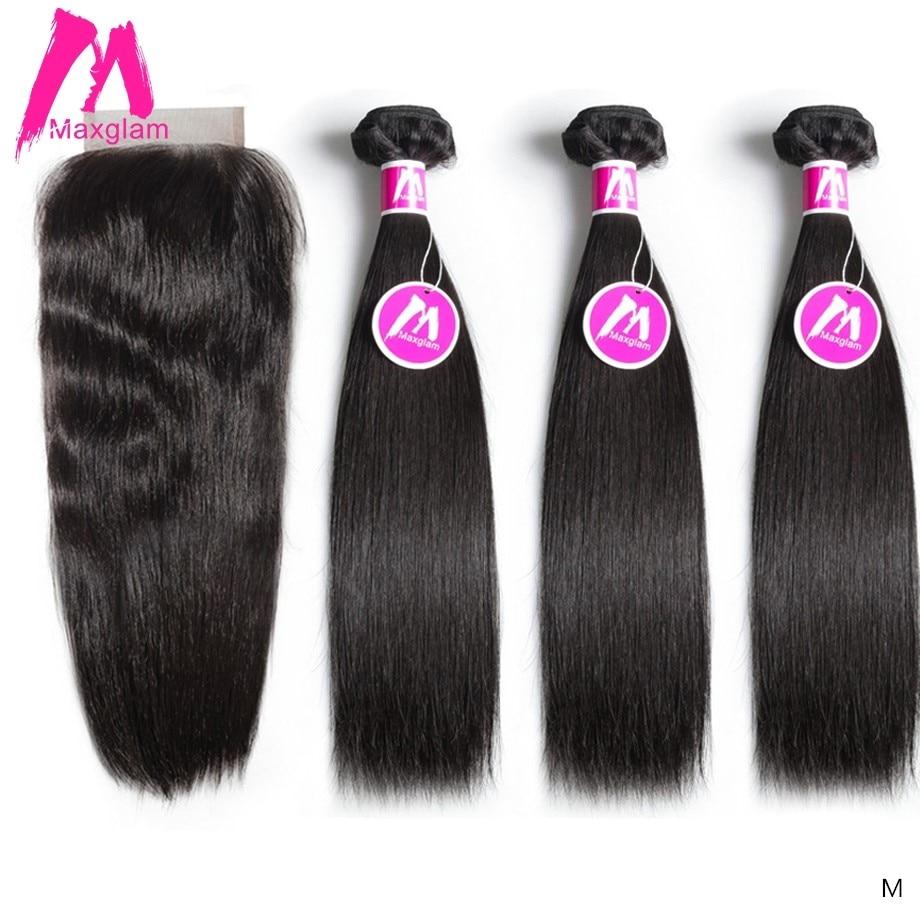 Malezya insan saçı örgüsü demetleri ile kapatma düz doğal renk kısa uzun siyah kadınlar için Remy saç uzatma 3 demetleri