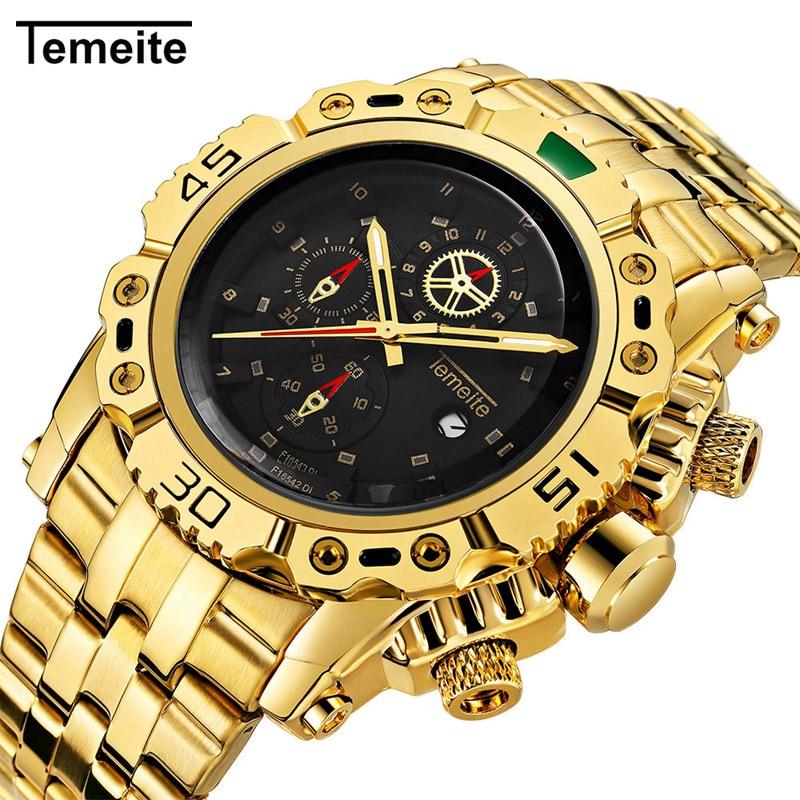TEMEITE 2019 Top Brand Luxury Business Golden Quartz Watch Male Clock Big Size Men Watches Military Wristwatch Relogio Masculino