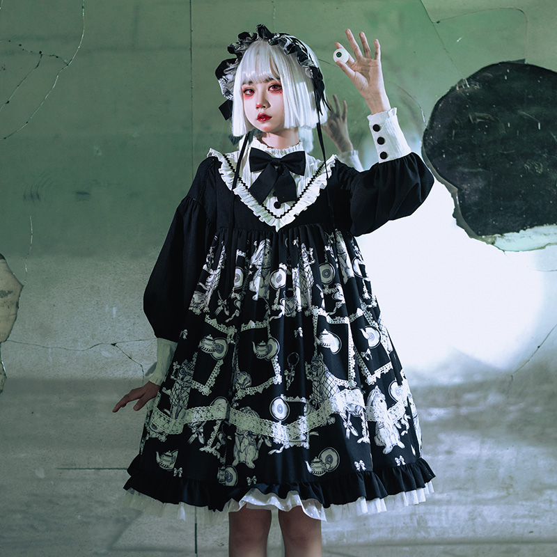 Lolita Gothic dark cool lolita daily dress vintage lace bowknot high waist victorian dress kawaii girl gothic  op loli cosplay