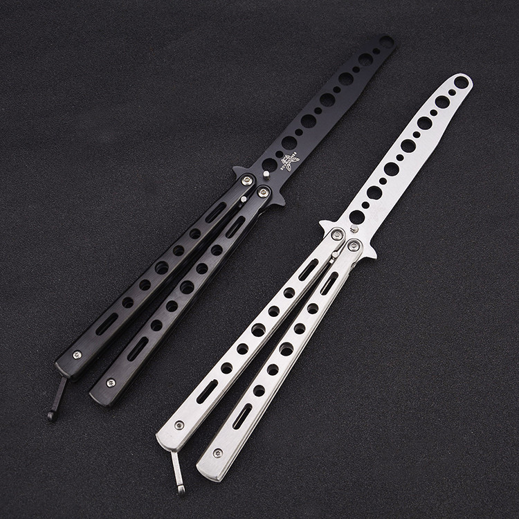 8.6'' Stainless Steel Practice Dull Blade Flail Combat Fight Fold Mariposa Train Butterfly Balisong Knife Comb Trainer 220mm image