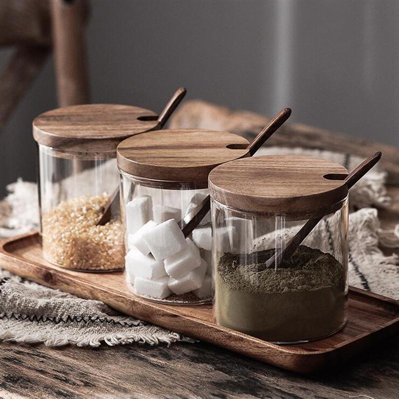 סט 3 יח' צנצנות זכוכית לתבלינים/קפה/תה/סוכר כולל כף עץ  1