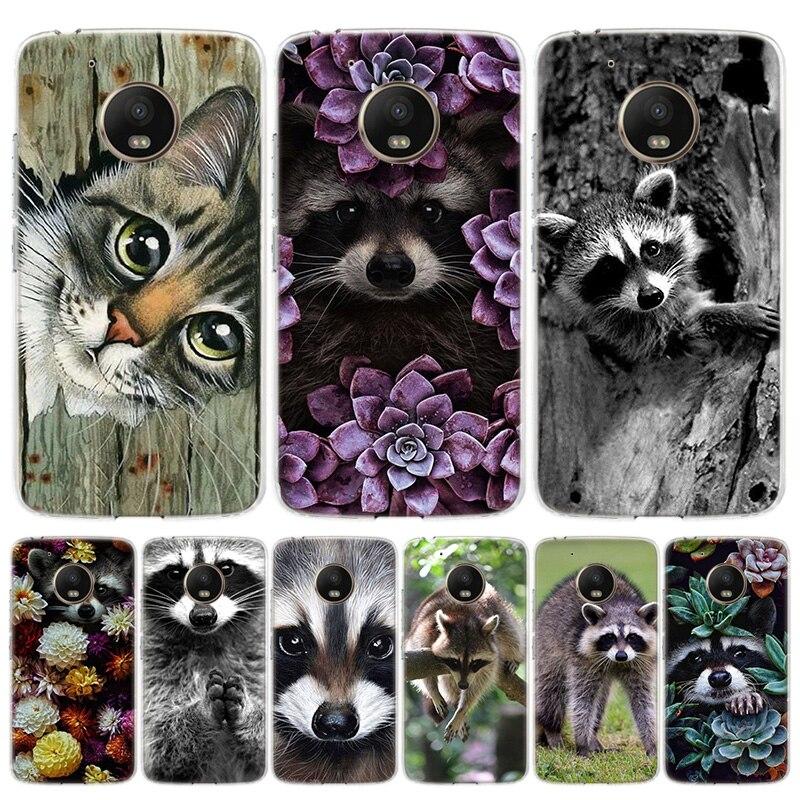 Raccoon Cover Phone Case For Motorola Moto G8 G7 G6 G5S G5 E6 E5 E4 Plus G4 Play EU One Action X4 Pattern Coque
