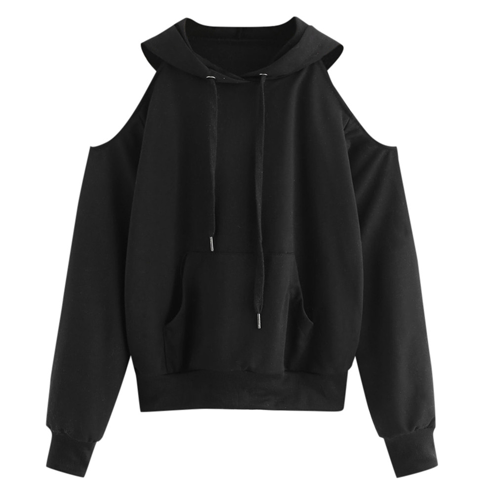 JAYCOSIN Fashion Women Solid Off Shoulder Hoodies Long Sleeve Casual Hooded Sweatshirt Ladies Autumn Winter Pullover Tops Blouse