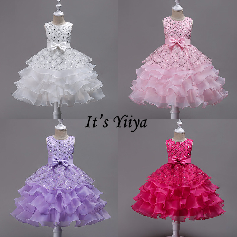 It's YiiYa   Flower     Girl     Dresses   5 Colors Sleeveless O-Neck Floor Length   Girls   Pageant   Dresses   Bow Embroidery Kids Ball Gown 582