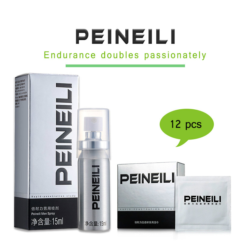 Peineili Sex Delay Spray For Men Anti Premature Ejaculation Prolong 60 Minutes Penis Enlargment Pills + 12pcs Lasting Sex Wipes