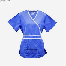 LOVE SHADOW Adjustable Waist Tie Nurse Scrubs Women Short Sleeve Medical Uniforms Mock-Wrap Scrub Top Surgical Doctor Clothes
