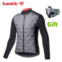 Santic New Winter Keep Warm Cycling Jackets Long Sleeved Windproof Thermal Fleece Jersey Men Light Clothing Bike Sports Outwear