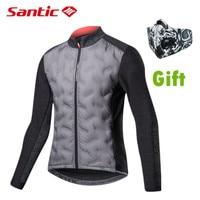 Santic novo inverno manter quente ciclismo jaquetas de manga comprida à prova de vento térmica velo jérsei masculino luz roupas bicicleta esportes outwear|Jaquetas de ciclismo| |  -