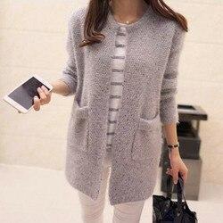 Женская одежда в Корейском стиле, мохер с карманами, свитер средней длины, вязаный кардиган, куртка разных цветов
