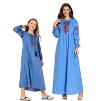 Mother Daughter Long Dress Muslim Embroidery Abaya Parent Kaftan Arab Jilbab Family Matching Outfits Long Sleeve Autumn Dresses