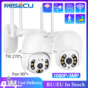 MISECU H.265X PTZ Wifi IP Camera 1080P 5MP Speed Dome AI Security Camera Wireless ONVIF Audio Outdoor Waterproof IR Color Night