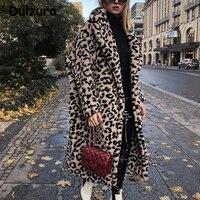 Luxury Fashion Leopard Long Teddy Bear Jackets Coats Women 2018 Winter Thick Warm Outerwear Brand Fashion Faux Fur Coat Female