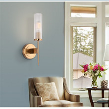 Modern High Quality Wall Lamp Iron Lamp Body Glass Lampshade Gold Indoor Sconce LED E27 Simple Wall Lights Bedside Lamp 220v