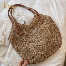 2021 Summer Straw Beach Tote  Bag Travel Shopper Weaving Shopping Bags Hand-woven Women's Shoulder Handbag Bohemian