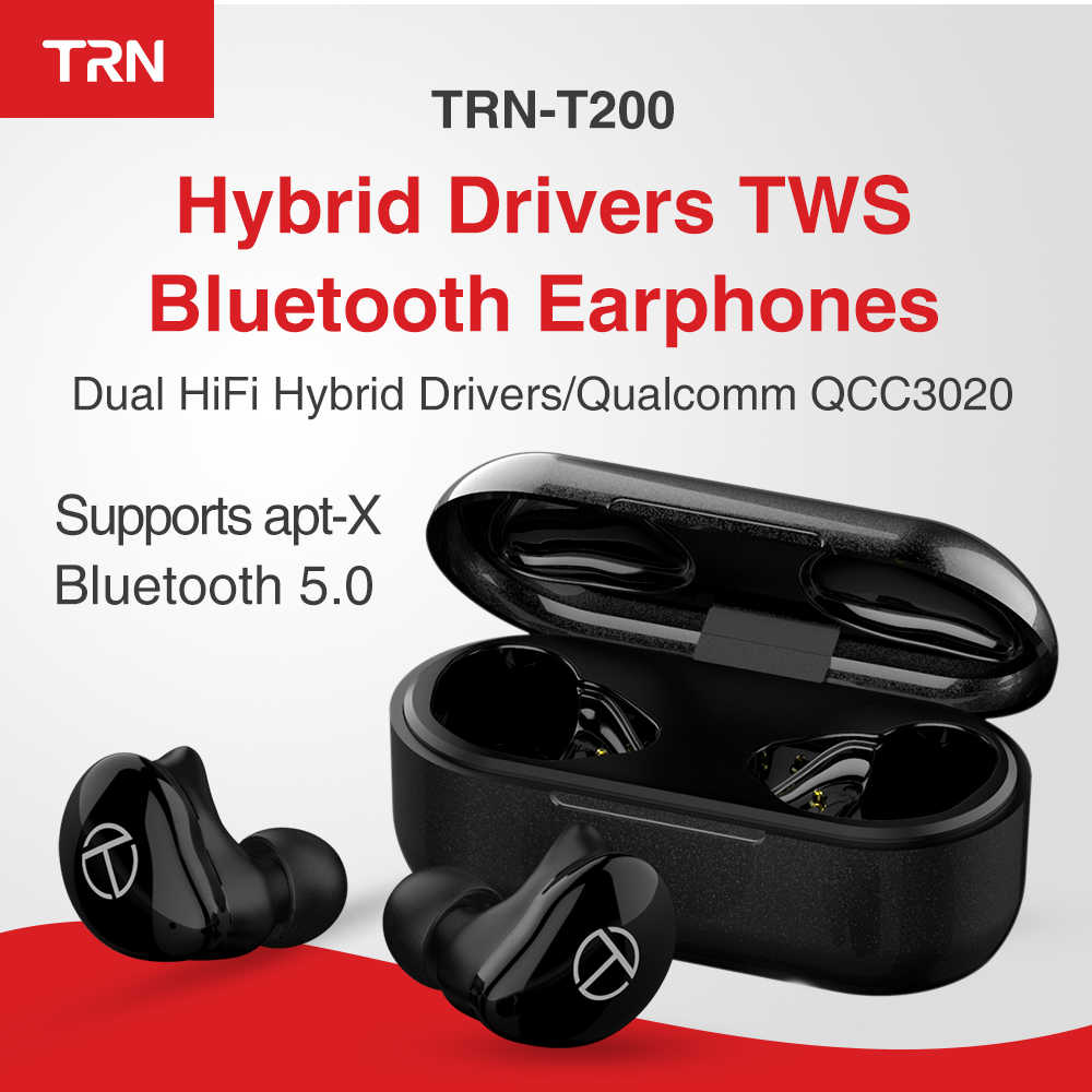 TRN T200 TWS سماعات بلوتوث للسائقين هجينة Aptx/AAC/SBC Apt-x V5.0 سماعات بلوتوث QCC 3020 TRN V80/V90/V20/X6 AK