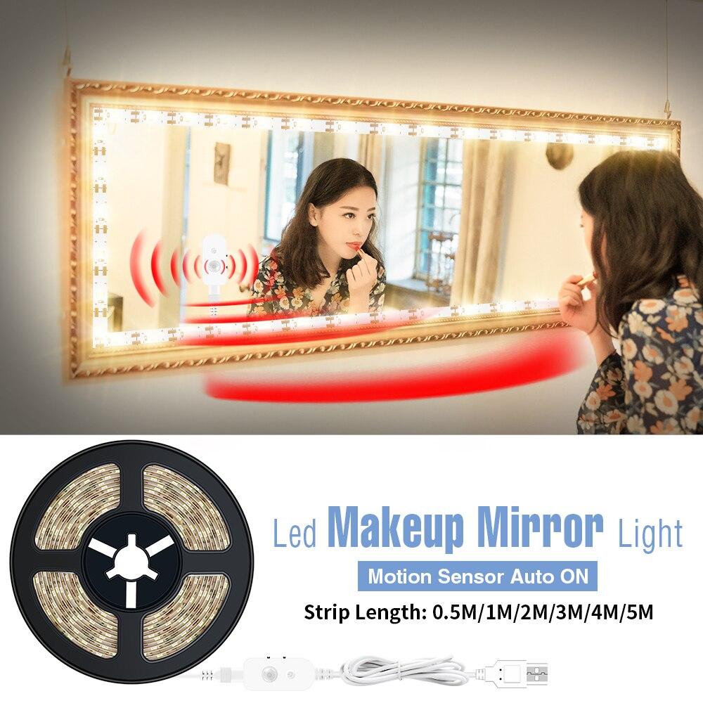Lusterko do makijażu USB światło bezprzewodowe PIR elastyczna taśma LED czujnik ruchu lampka do makijażu ściemnialna toaletka z podświetleniem