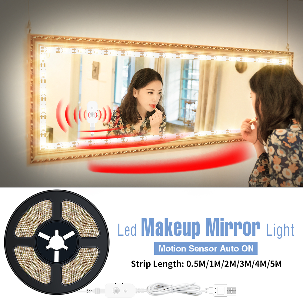 USB Vanity Makeup Mirror Light Wireless PIR Flexible LED Strip Motion Sensor Makeup Lamp Dimmable Dressing Table Mirror Backlit