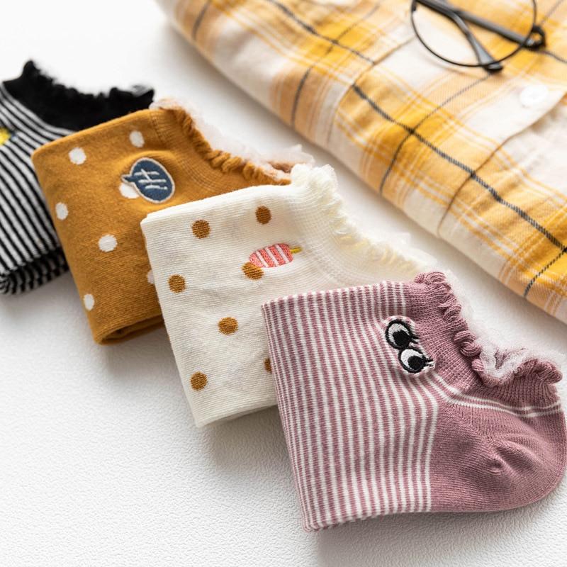 Women Socks 1 Pair 2019 Spring New Fashion Cute Lace Cartoon Color Ankle Socks Girls Cotton Novelty Women Fashion Short Socks