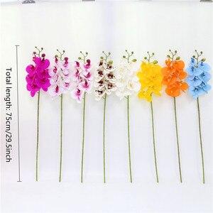 Image 4 - Orquídea de mariposa de poliuretano Real al tacto, flores artificiales para casa, decoración de fiestas de bodas, regalo de Navidad