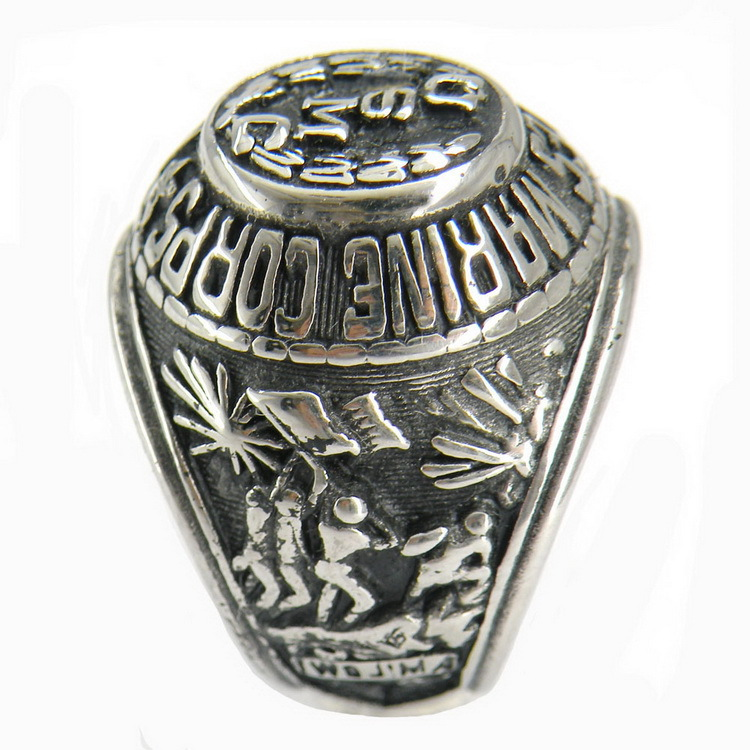 US MARINE CORPS <font><b>USMC</b></font> Letter Stainless Steel Army <font><b>Ring</b></font> Men's Military <font><b>Rings</b></font> for Marines NO24 image