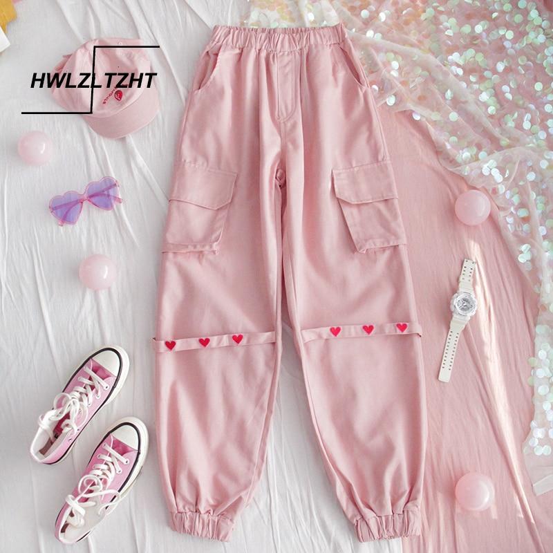 HWLZLTZHT Plus Size Womens Casual Pants High Waist Sweatpants For Women Loose Japanese Harajuku Pants Kawaii Femme Fall Trousers