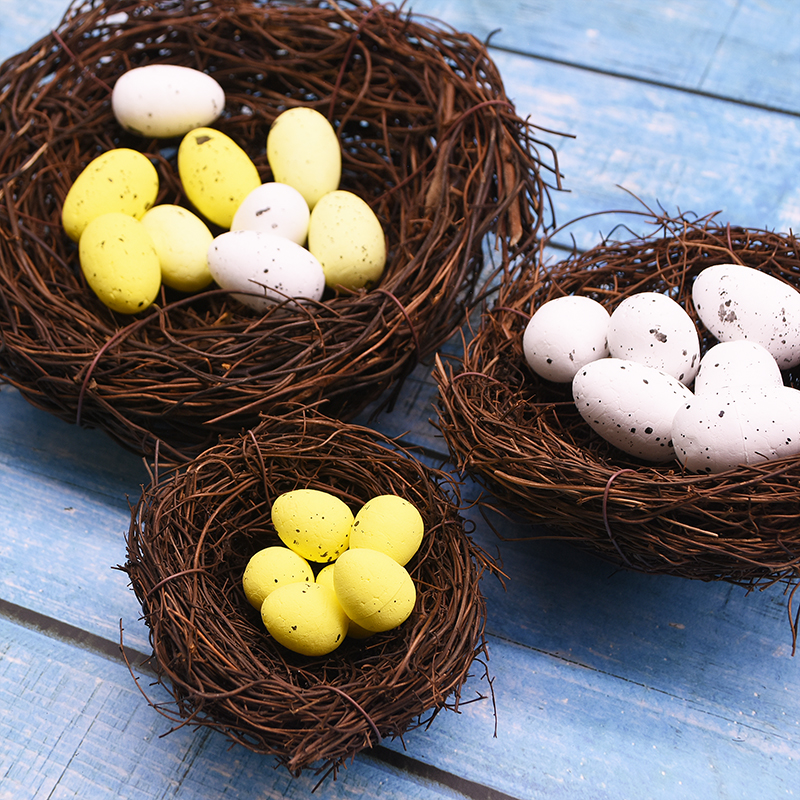 8-25cm Artificial Ratten Nest Foam Mini Foam Egg Fake Bird's Nest For Easter Home Decoration DIY Gift Craft For Easter