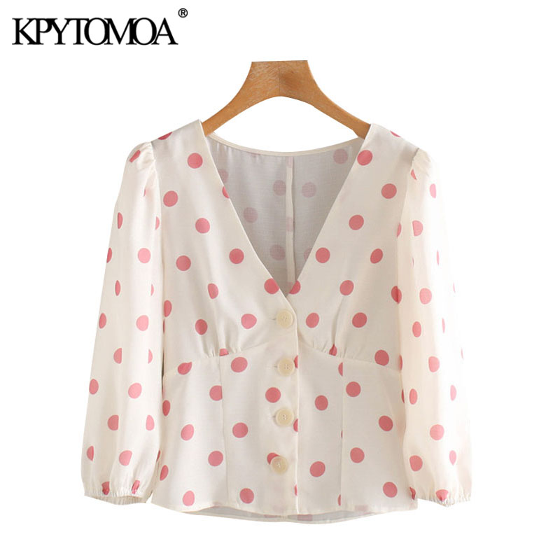 KPYTOMOA Women 2020 Sweet Fashion Polka Dot Button-up Blouses Vintage V Neck Three Quarter Sleeve Female Shirts Chic Tops