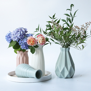 Ins Nordic Flower Basket Flower vase Origami Artcraft Plastic Vases Home Decoration Bottle Imitation Ceramic Flower Pot Figurine 1