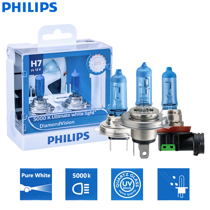 Philips Diamond Vision H1 H4 H7 H8 H11 9005 9006 HB3 HB4 12V DV 5000K Cool White Light Car Halogen Headlight Fog Lamp (Twin)