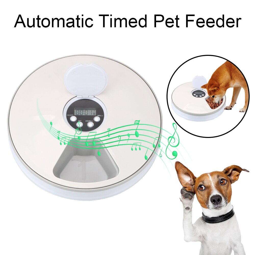 6 griglie alimentatore automatico per animali domestici con registratore vocale Dispenser elettrico per alimenti bagnati asciutti alimentatore tondo per cani gatto 6 pasti 1