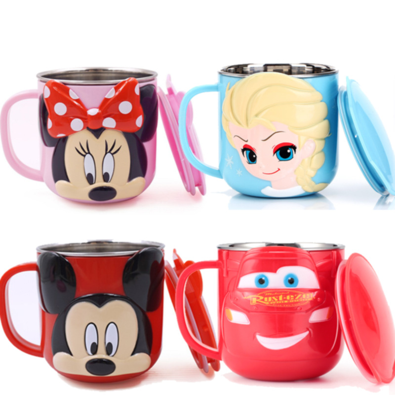 Children Stainless Steel Water Cup Disney Cup Kids Drink Glass Shatter-resistant Household Milk Cup Baby Tableware Cup