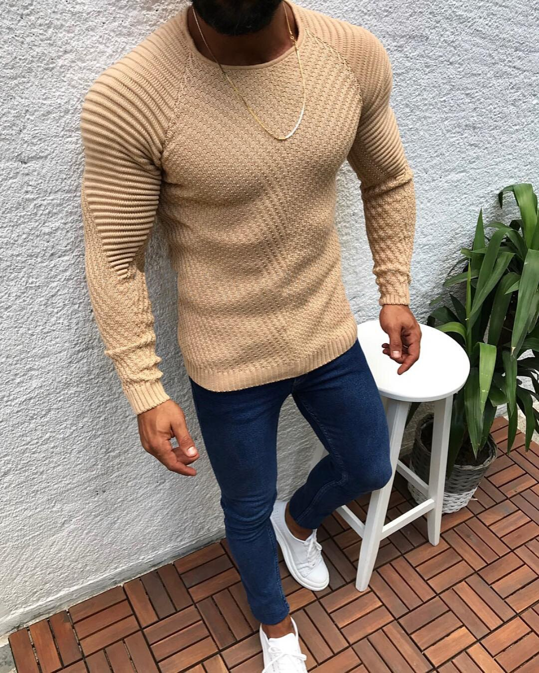 HEFLASHOR Autumn Winter Sweater Men 2019 Casual Pullover Men Long Sleeve O-Neck Patchwork Knitted Solid Clothes Men Sweaters