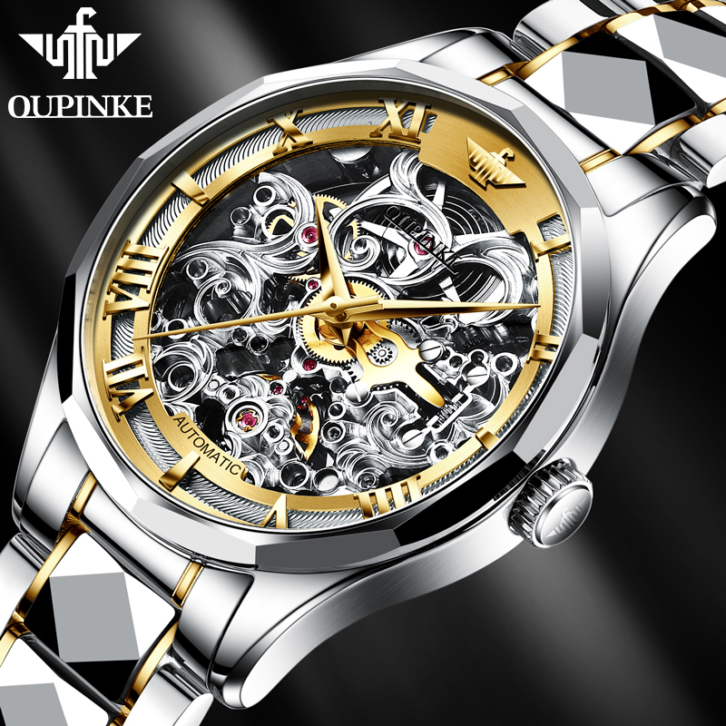 Men mechanical watches OUPINKE Top Brand Sport Skeleton Male Watch Luxury Sapphire Business Automatic Wrist watch men Waterproof