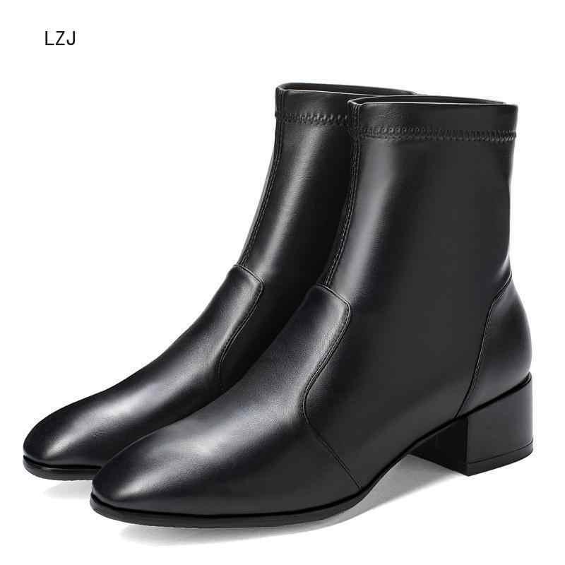 ใหม่ยืดถุงเท้ารองเท้าผู้หญิงรองเท้าข้อเท้าฤดูใบไม้ผลิฤดูหนาว Elegant Square รองเท้าส้นสูงรองเท้าผู้หญิงข้อเท้ารองเท้าหนัง 2019